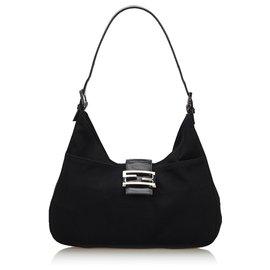 Fendi-Fendi Black Fabric Shoulder Bag-Black