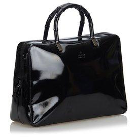 Gucci-Porte-documents en cuir verni bambou noir Gucci-Noir