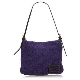 Fendi-Fendi Purple Knit Baguette-Purple