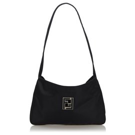 Fendi-Fendi Black Nylon Shoulder Bag-Black