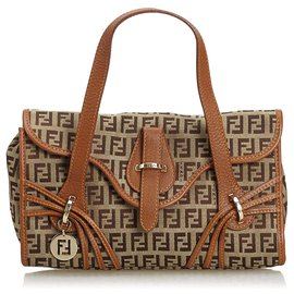 Fendi-Fendi Brown Zucca Jacquard Sac à main-Marron,Noir
