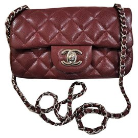 Chanel-Chanel extra mini burgundy timeless flap bag-Dark red