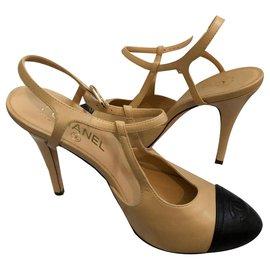Chanel-Heels-Black,Caramel