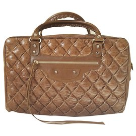 Balenciaga-Quilted bowling-Brown