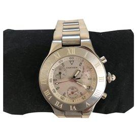 Cartier-Cartier Chronoscaph Uhr-Silber,Weiß,Metallisch