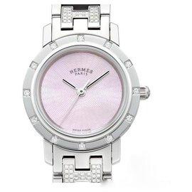 Hermès-MONTRE HERMES CLIPPER DIAMANTS-Rose,Gris