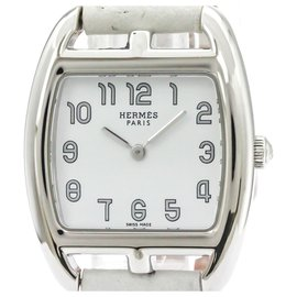 Hermès-Hermes Silver Stainless Steel Cape Cod Quartz CT1.210-Silvery,White