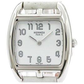 Hermès-Cape Cod Quartz CT Hermès Acier Inoxydable Argent1.210-Argenté,Blanc