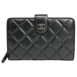Chanel-Chanel Black Quilted French Purse Wallet-Black,Red