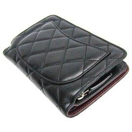 Chanel-Chanel Schwarze gesteppte französische Geldbörse-Schwarz,Rot