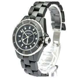 Chanel-Chanel black Ceramic J12 Quartz H1625-Black,Silvery