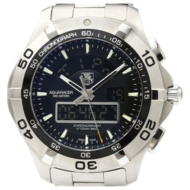 Tag Heuer-Tag Heuer Silver Stainless Steel Aquaracer Quartz CAF1010-Black,Silvery
