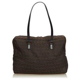 Fendi-Fendi Brown Zucchino Jacquard Shoulder Bag-Brown,Black,Dark brown