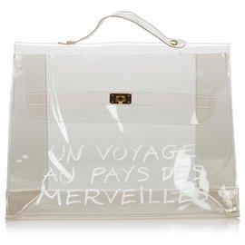 Hermès-Hermes White Vinyl Kelly Handtasche-Weiß