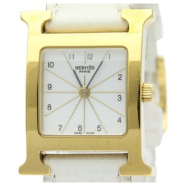 Hermès-Hermes Gold Gold Plated Heure H Quartz HH1.201-White,Golden