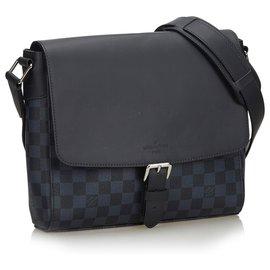 Louis Vuitton-Louis Vuitton Black Damier Cobalt Newport Messenger-Black,Blue,Navy blue