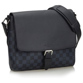 Louis Vuitton-Louis Vuitton Black Damier Cobalt Newport Messenger-Noir,Bleu,Bleu Marine