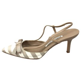 Manolo Blahnik-Manolo Blahnik Brown Stripe Nylon Heel-Brown,White,Cream