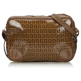 Fendi-Fendi Brown Zucchino Coated Canvas Crossbody Bag-Brown,Light brown
