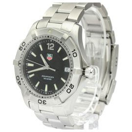 Tag Heuer-Tag Heuer Silver Stainless Steel Aquaracer Quartz WAF1110-Black,Silvery