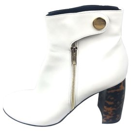 Stella Mc Cartney-Stella McCartney White Percy Boot-Brown,White,Dark brown