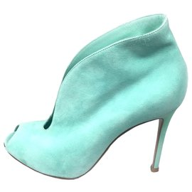 Gianvito Rossi-Gianvito Rossi Green Suede Open Toe Boot-Green,Light green