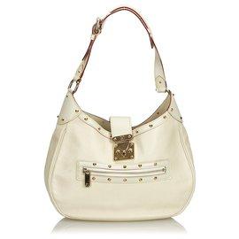 Louis Vuitton-Louis Vuitton White Suhali L Affriolant Bag-White,Golden