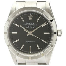 Rolex-Rolex Silver Stainless Steel Airking Automatic 14010-Black,Silvery
