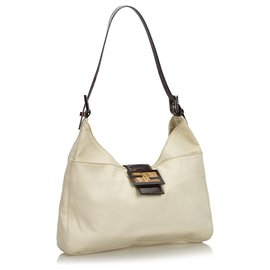 Fendi-Fendi Brown Canvas Shoulder Bag-Brown,Light brown