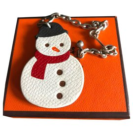 Hermès-SNOWMAN CHARM WITH REAL 925% Silver chain-Multiple colors
