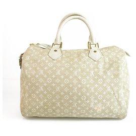 Louis Vuitton-Louis Vuitton off White Dune Mini Lin Speedy 30 Satchel Bag Boston Handbag-White