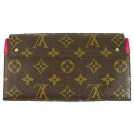 Louis Vuitton-Louis Vuitton LV Monogram Canvas & Fuchsia Leather Women's Long Wallet-Brown