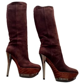 Casadei-Slightly rounded wedge heel boots with stiletto heels.-Silvery,Python print,Dark brown