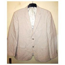 Tommy Hilfiger-TOMMY HILFIGER Linen & Cotton beige summer jacket & Silk Tie-Beige