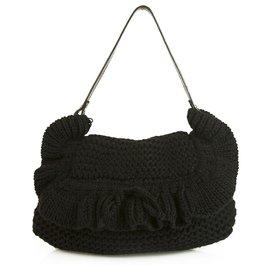Fendi-Fendi Chef Ruffle Crocheted Knit Flap Black Wool Shoulder Bag 2005 Collection-Black