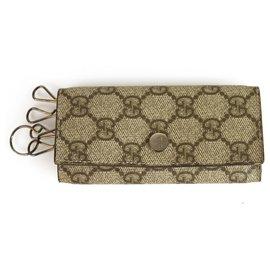Gucci-GUCCI Monogramm GG Canvas & Leder Schlüsselanhänger Porte Cles Unisex Schlüsselanhänger Inhaber-Beige
