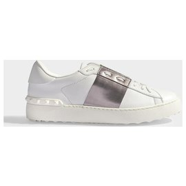 Valentino Garavani-Valentino Garavani. Open Metallic Sneakers in White and Grey Studded Leather new-White,Other