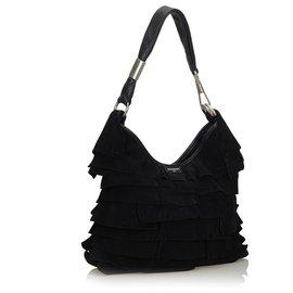 Yves Saint Laurent-YSL Black Suede Saint Tropez Shoulder Bag-Black