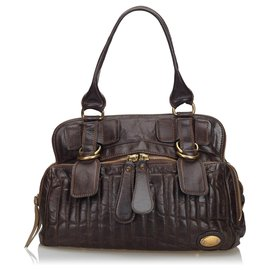 Chloé-Chloe Brown Leather Bay Handbag-Brown,Dark brown