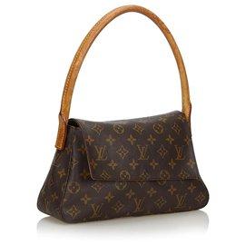 Louis Vuitton-Louis Vuitton Brown Monogram Looping Mini-Brown