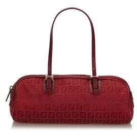 Fendi-Fendi Red Zucchino Canvas Handtasche-Rot