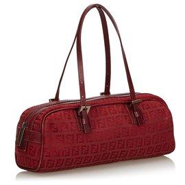 Fendi-Fendi Red Zucchino Canvas Handbag-Red