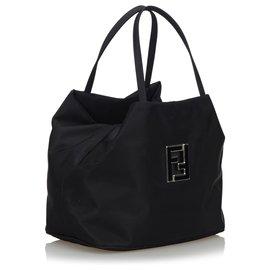 Fendi-Fendi Schwarze Nylon-Einkaufstasche-Schwarz