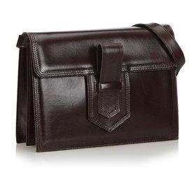Yves Saint Laurent-YSL Black Leather Crossbody Bag-Black