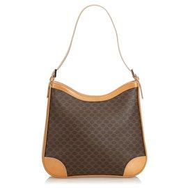 Céline-Celine Brown Macadam Jacquard Shoulder Bag-Brown