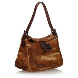 Fendi-Fendi Brown Pony Hair Shoulder Bag-Brown,Light brown,Dark brown