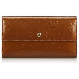 Louis Vuitton-Louis Vuitton Brown Vernis Sarah Wallet-Brown,Bronze