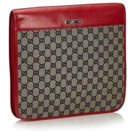 Gucci-Gucci Brown GG Pochette en toile-Marron,Rouge,Beige