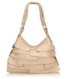 Yves Saint Laurent-YSL Brown Leather Saint Tropez Shoulder Bag-Brown,Beige
