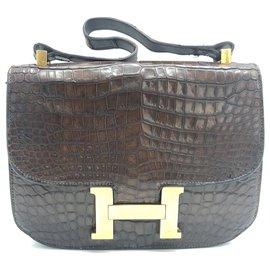 Hermès-Vintage Hermes Kelly Constance Brown Krokodilleder Tasche-Braun